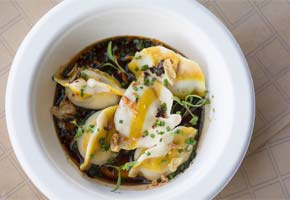 Steamed Chicken Jiaozi Dumplings by Ms Chi | Photo by Aliza Sokolow, courtesy of The Fields LA